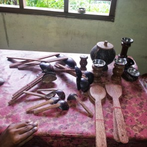 Lila John's coconut utensils are made from 100 percent recycled materials. They can be found in small and medium size business in India, New York, and Brasil. They will soon be available in large grocery stores in the United States Europe and in various outlets in Africa.