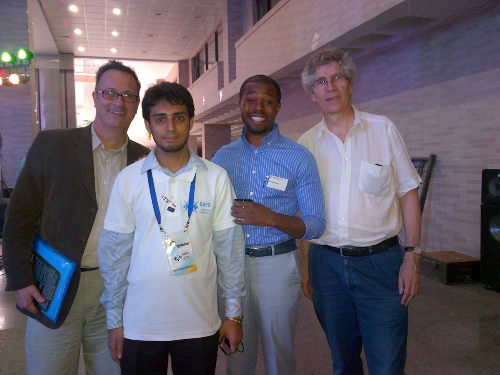 M.Washington with Professor Cam Donaldson, Yunus Chair in Social Business & Health at Glasgow Caledonian University, Jean-Luc Perron, Managing Director, the Grameen Crédit Agricole, and student organize of the social business forum held at North South University, Dhaka Bangladesh.