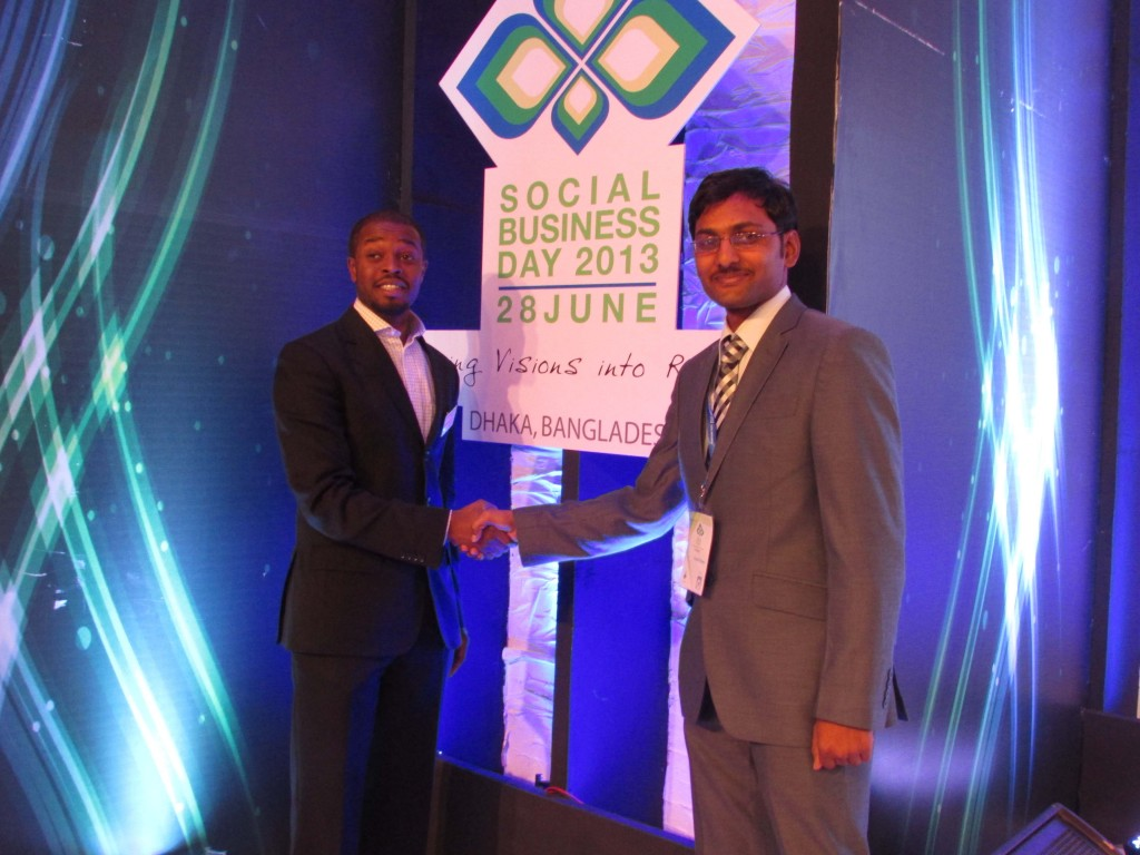 M.Washington with Rupeshh Manne at Social Business day 2013, held in Dhaka, Bangladesh.
